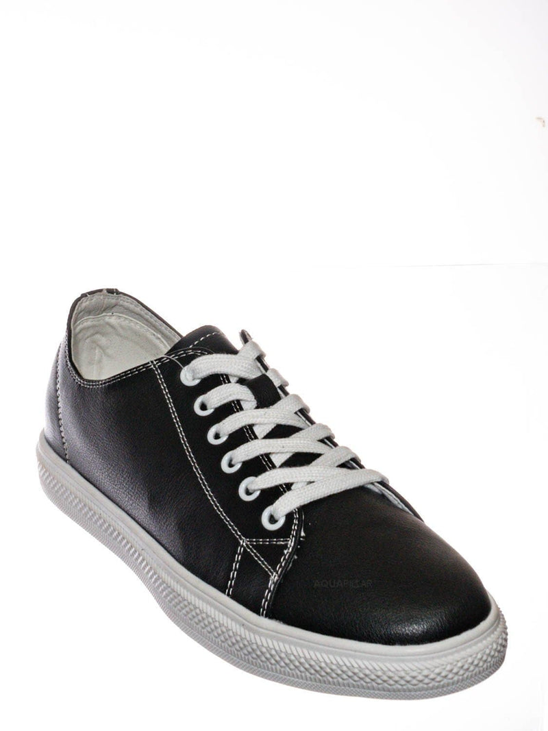Black leather / Constant3 Leather Fashion Lace Up Sneaker - Unisex Low Top Vulcanized Shoe
