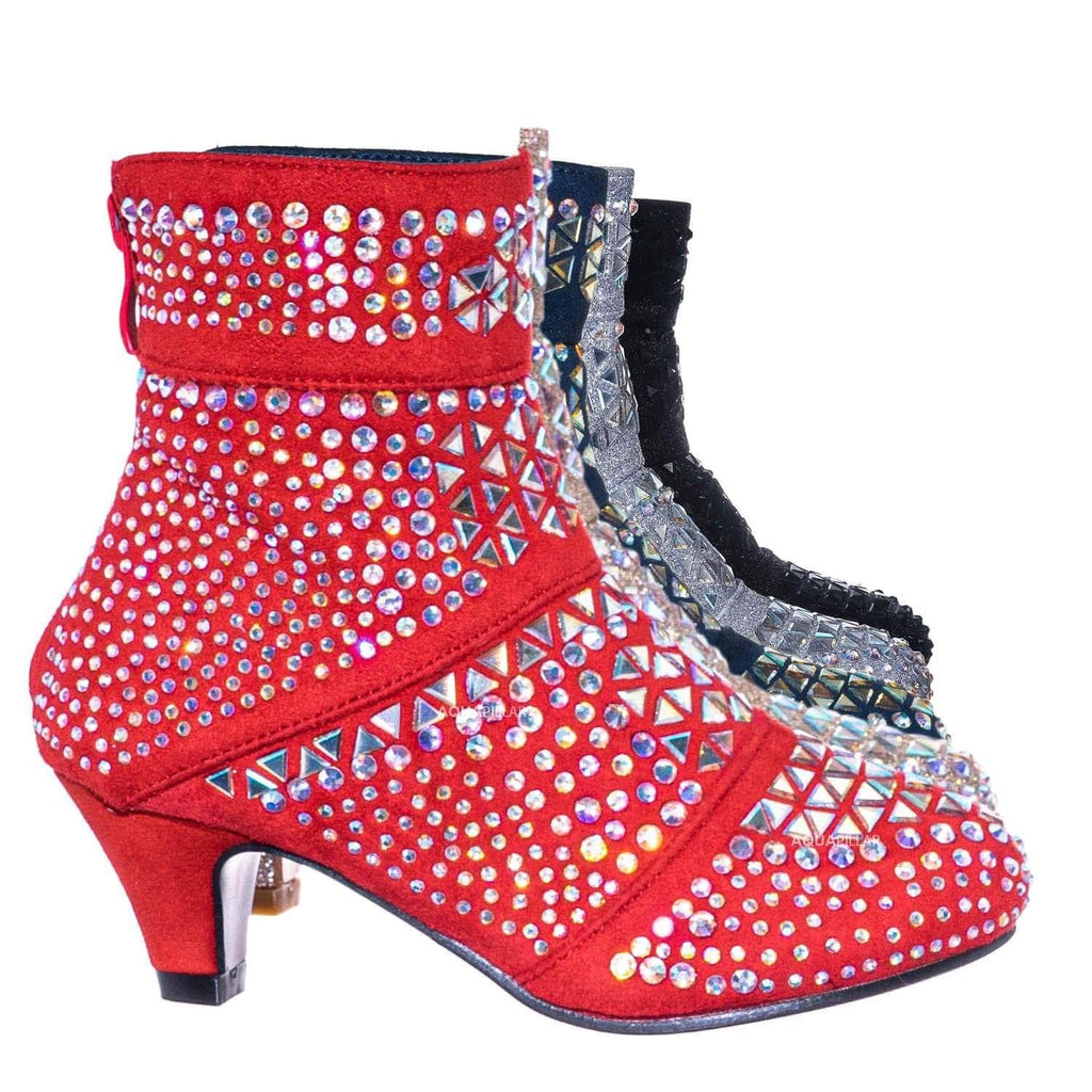 Red / Event98K Kids Rhinestone Crystal Glitter Bootie - Girls Shimmering Dress Shoes