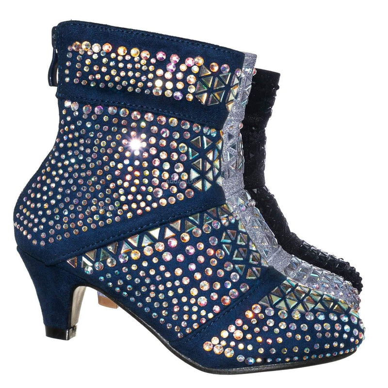 Girls Glitter Ankle Suede Boots Studded Rhinestone Kids High Heel Booties