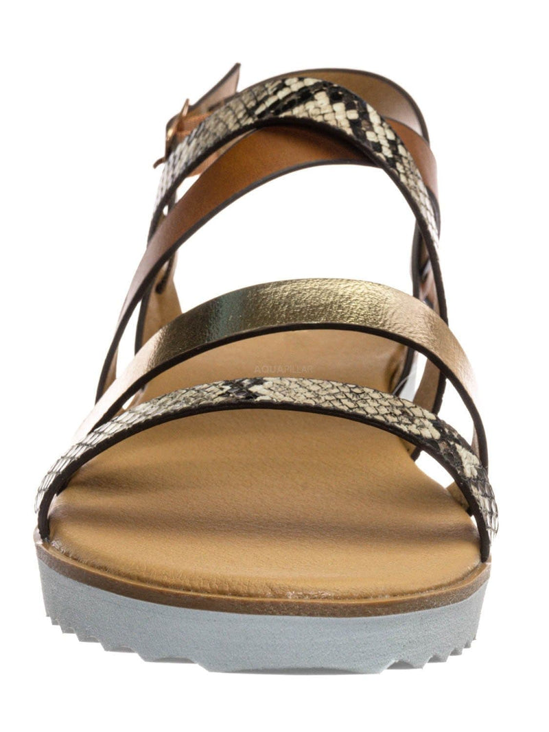 Snake Multi / Pansy24 Lightweight Foam Flatofrm Sandal - Platform Strappy Mix Print Flat Shoes