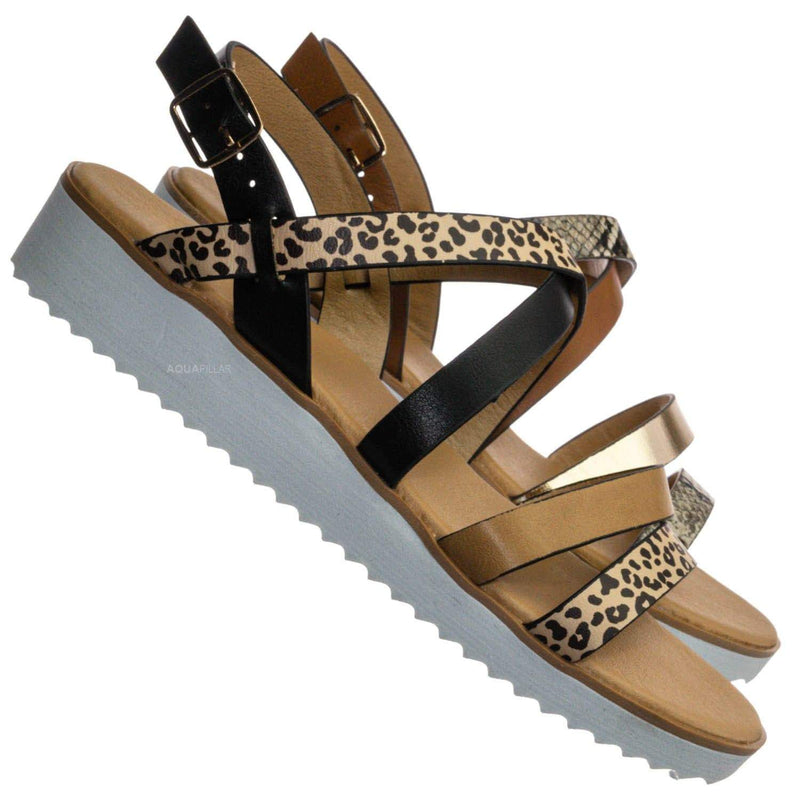 Cheetah Multi / Pansy24 Lightweight Foam Flatofrm Sandal - Platform Strappy Mix Print Flat Shoes
