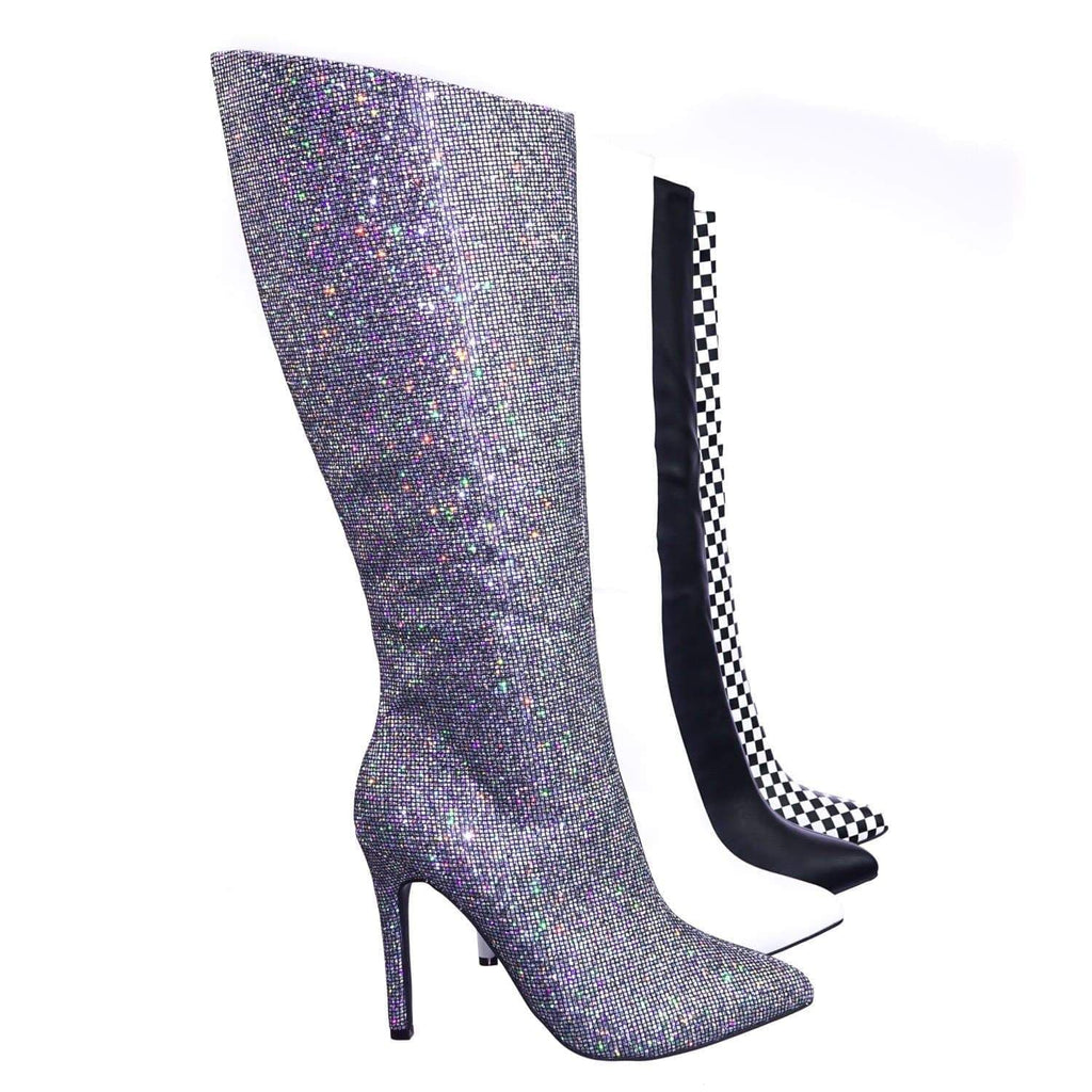 Pledge27 SlvGlt Pointed Toe Knee High Heel Dress Sandal w Checker Solid & Glitter