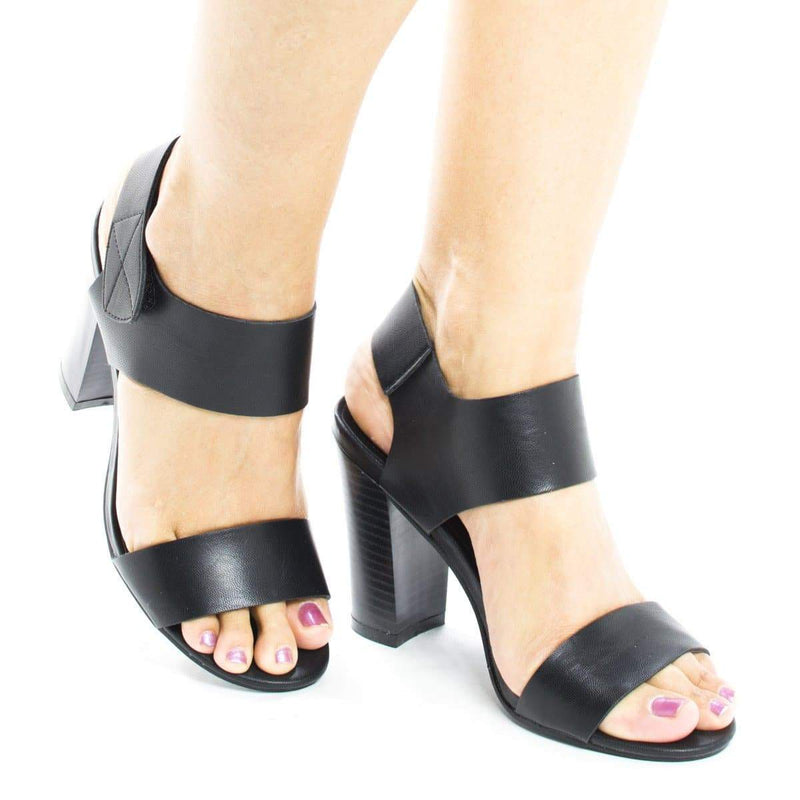 Sandra1 Natural Pu By Aquapillar, Open Toe Velcro Ankle Cuff Chunky High Heel Sandals