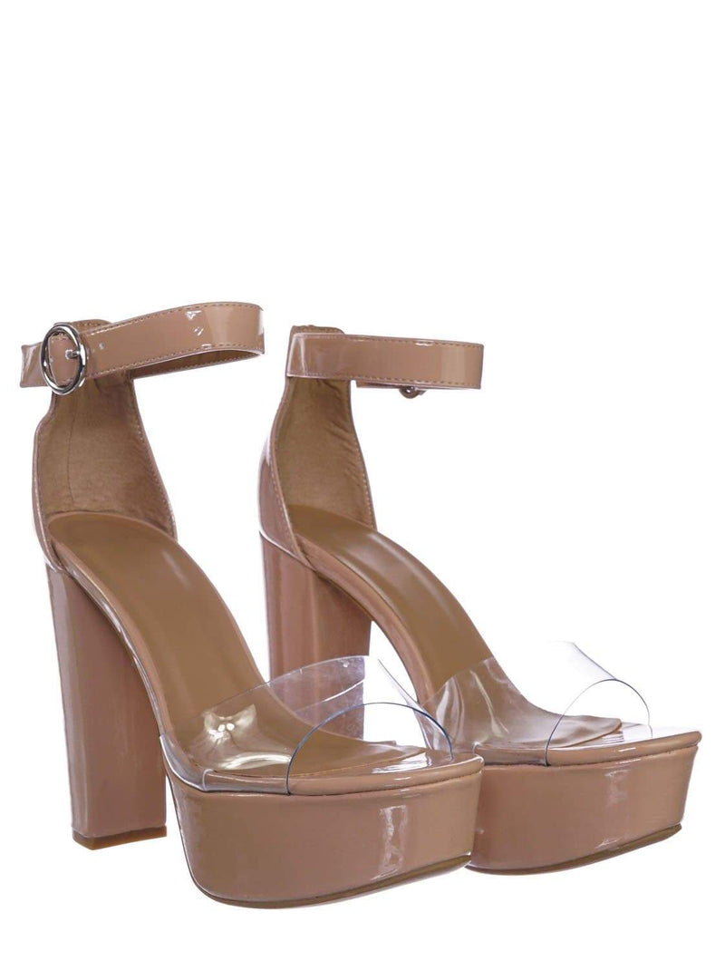Nude Beige Patent / Shocking12 NudPt Chunky Block Heel Lucite Clear Sandal - Transparent Platform Open Toe