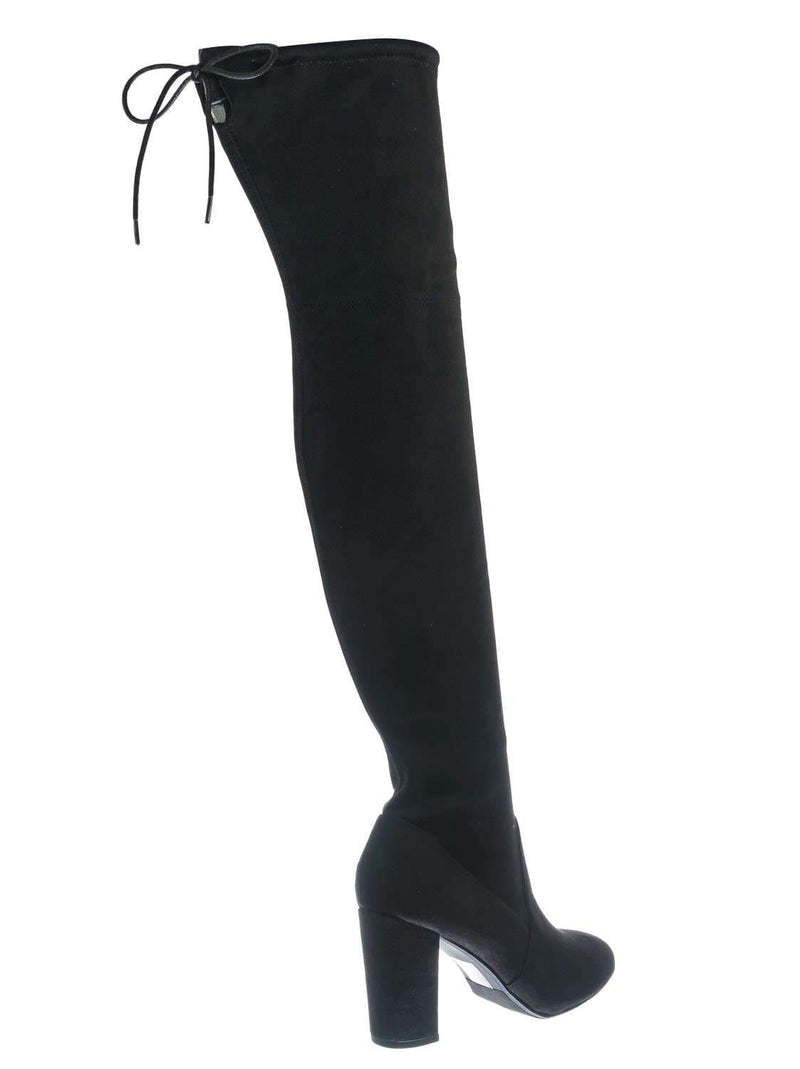 Blacksued / Snivy OTK Over Knee Thigh Slouchy Boots - Women Back Lace Tie & Block Heel