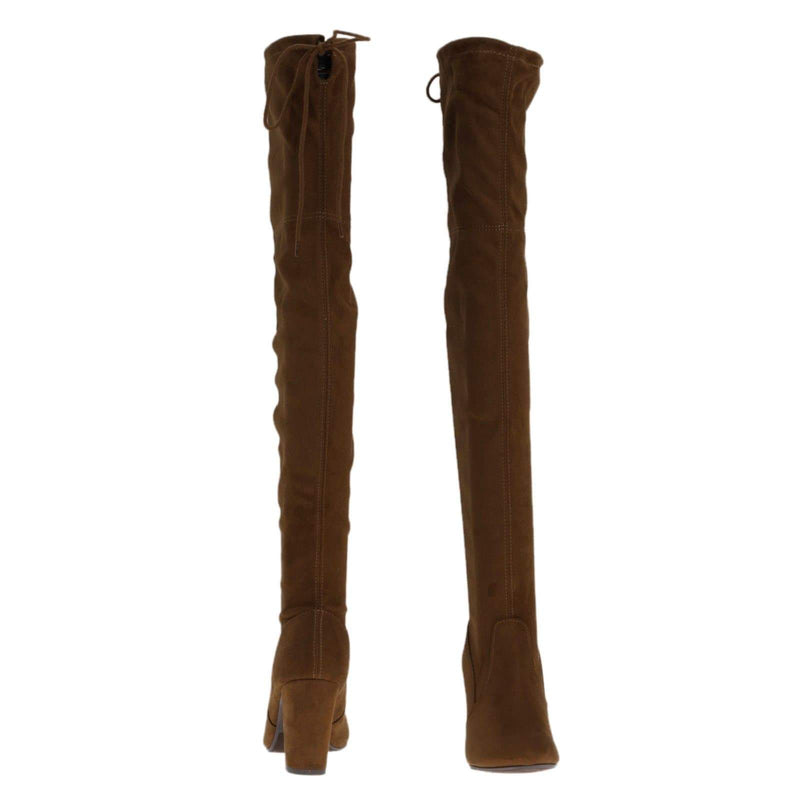 Cognac / Snivy OTK Over Knee Thigh Slouchy Boots - Women Back Lace Tie & Block Heel
