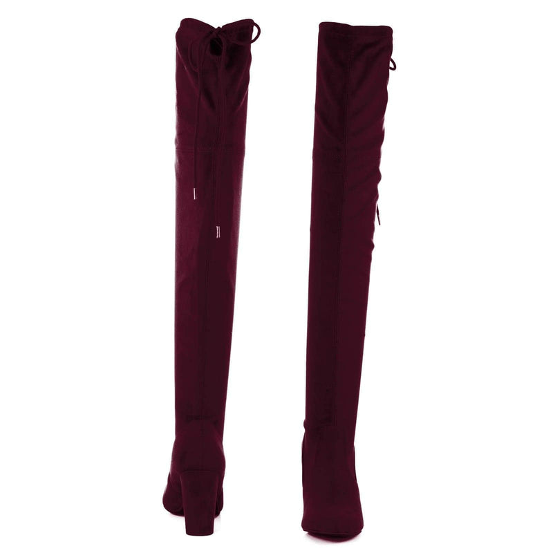 Vino / Snivy OTK Over Knee Thigh Slouchy Boots - Women Back Lace Tie & Block Heel