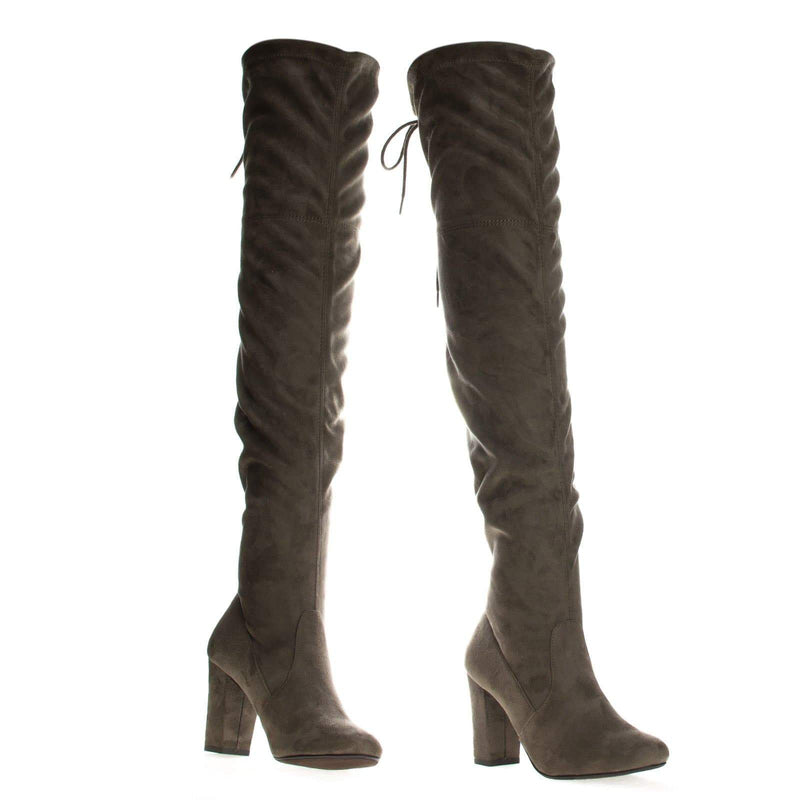 Taupe / Snivy OTK Over Knee Thigh Slouchy Boots - Women Back Lace Tie & Block Heel