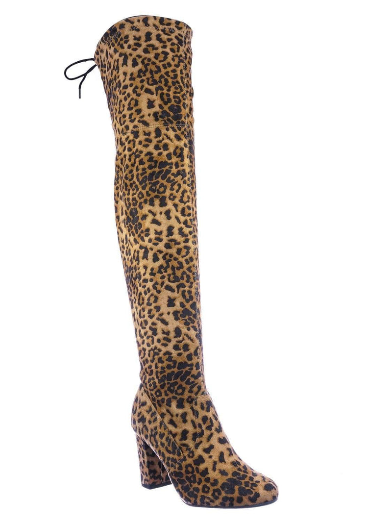 Camel Leopard / Snivy OTK Over Knee Thigh Slouchy Boots - Women Back Lace Tie & Block Heel