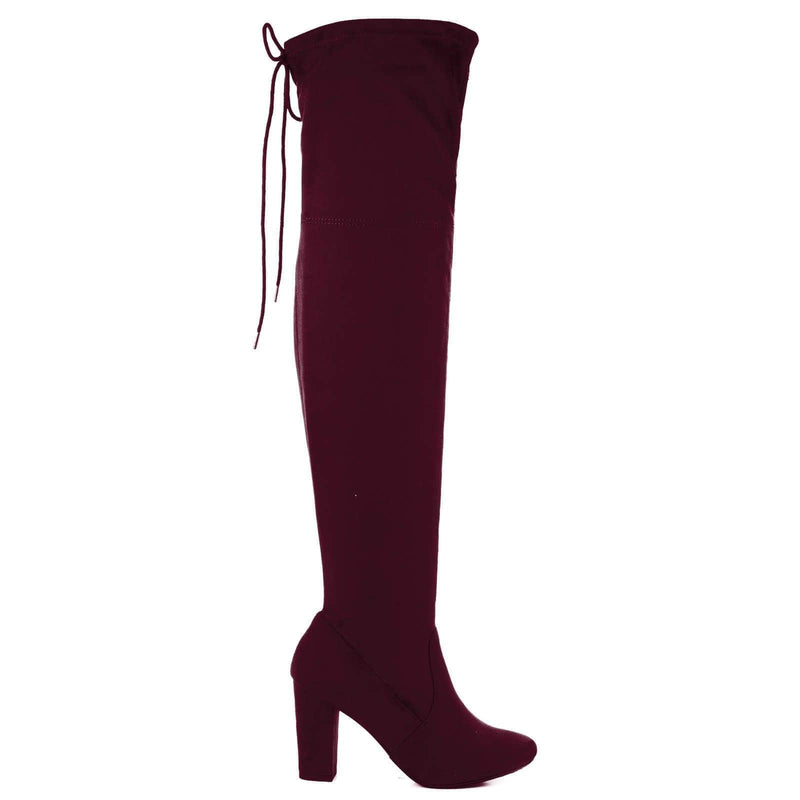 Snivy OTK Over Knee Thigh Slouchy Boots - Women Back Lace Tie & Block Heel