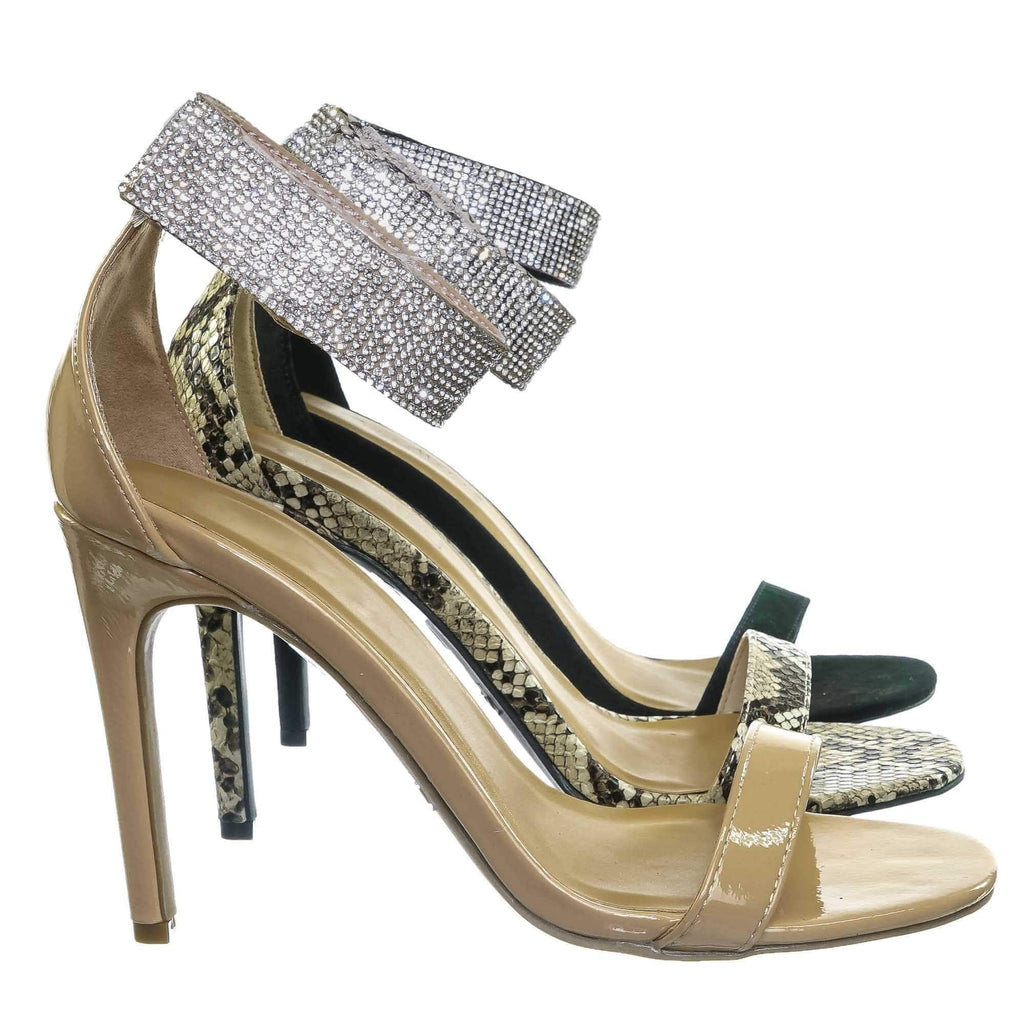Nude Beige Patent / Timeless30 Nude Beige Patent Rhinestone Ankle Strap Sandal - Women High Heel Open Toe Evening Shoe