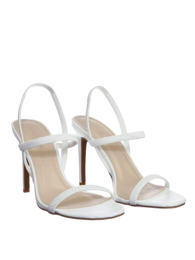 White Pu / Timeless34 WhtCrp Thin Elastic Strap High Heel Sandal - Women Open Toe Stretchy Shoes