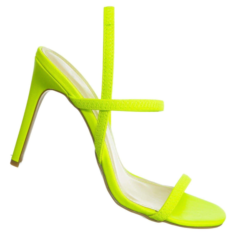 Neon Yellow / Timeless34 NYlwCrp Thin Elastic Strap High Heel Sandal - Women Open Toe Stretchy Shoes
