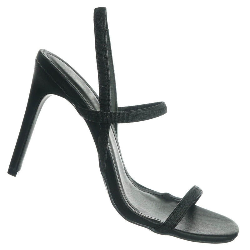 Black Pu / Timeless34 BlkCrp Thin Elastic Strap High Heel Sandal - Women Open Toe Stretchy Shoes