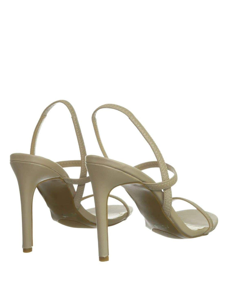 Nude Beige / Timeless34 NudCrp Thin Elastic Strap High Heel Sandal - Women Open Toe Stretchy Shoes