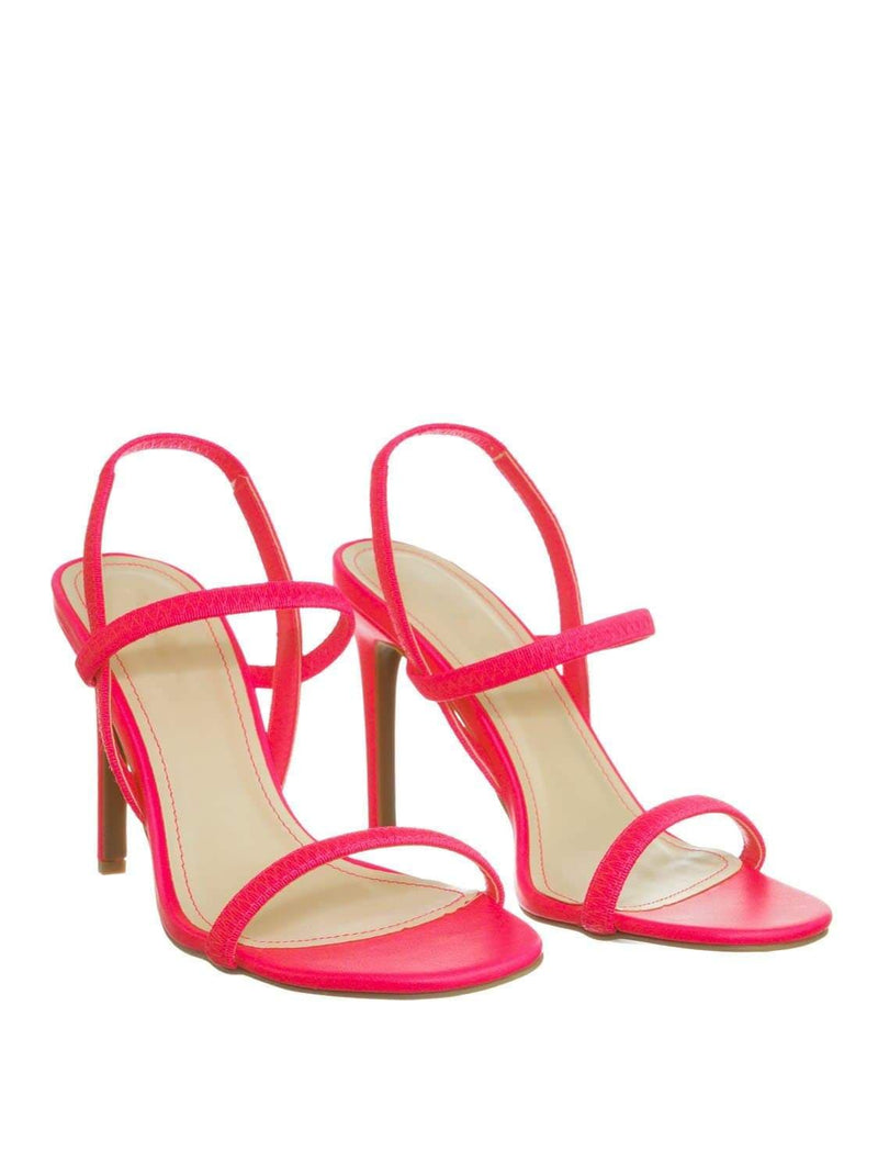 Neon Pink / Timeless34 NPnkCrp Thin Elastic Strap High Heel Sandal - Women Open Toe Stretchy Shoes