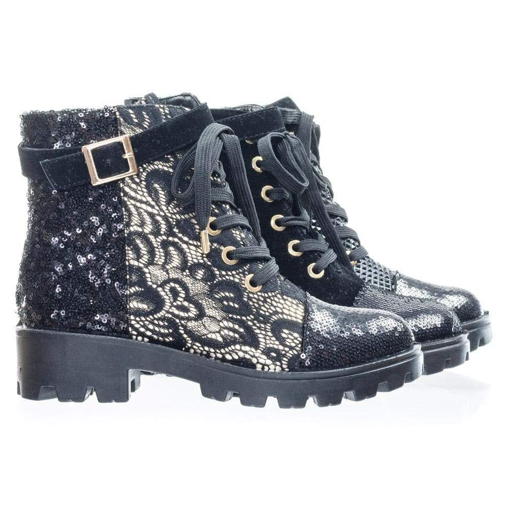 Tread12 Lace Up Combat Boots w Sequins & Faux Fur Lining In GoldLace Or Velvet