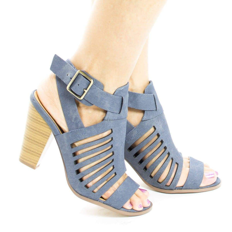 YummyDS By Aquapillar, Open toe Caged Ankle Wrap Stacked Heeled Sandals