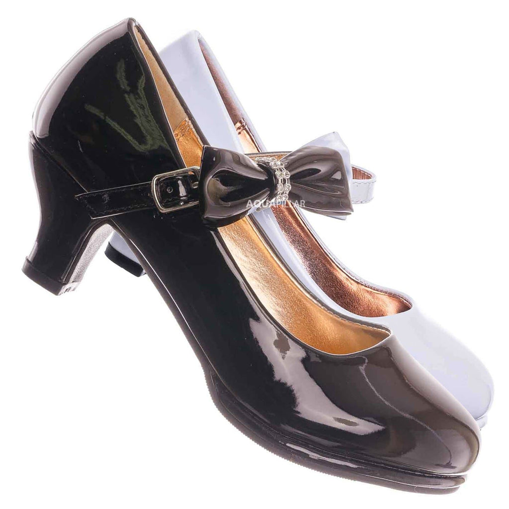 Black Patent / Tasha685E Kids Block Heel Mary Jane Pump - Little Girl Wedding Party Dress Shoes