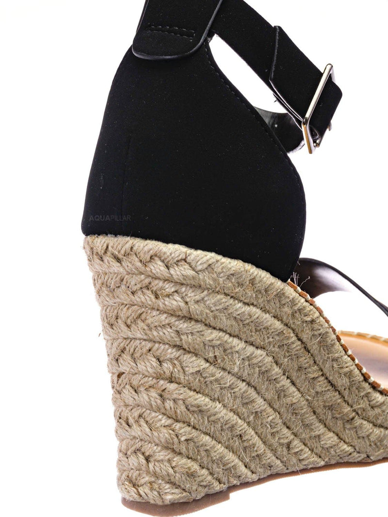 Black Nubuck / Selma Two Tone Espadrille Wedge Sandals - Womens Ankle High Heel Open Toe Shoes