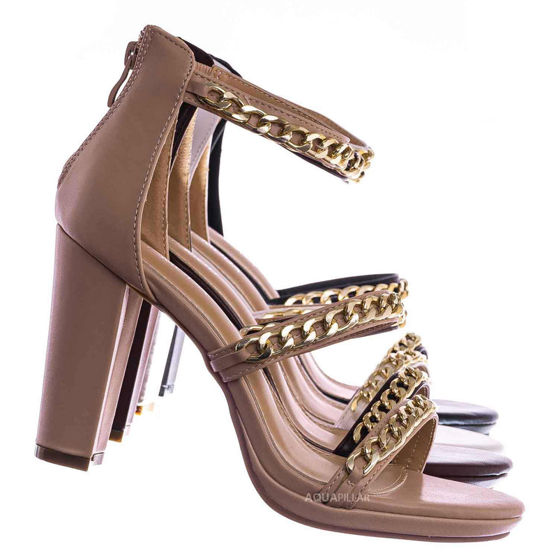 Choo28 High Heel Chain Sandal - Womens Block Heel Strappy Open Toe Shoes