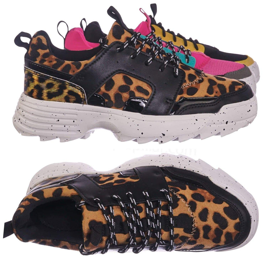 Black Leopard / Above20 BlkLeo Lightweight Chunky Sneaker -Lace Up EVA Color Block Fashion Athletic