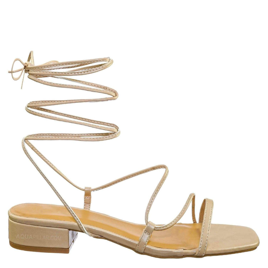 Nude Beige / Airy09 Leg Wrap Open Square Toe Sandal - Women Strappy Lace Up Kitten Heel Shoe
