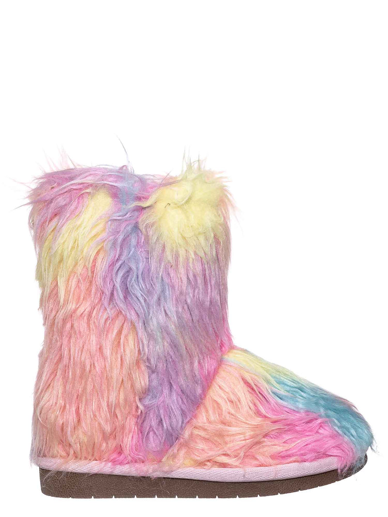 Multi / Alice11KA Toddler Fluffy Faux Fur Mukluk - Baby Girl Rainbow Winter Slipper Boot