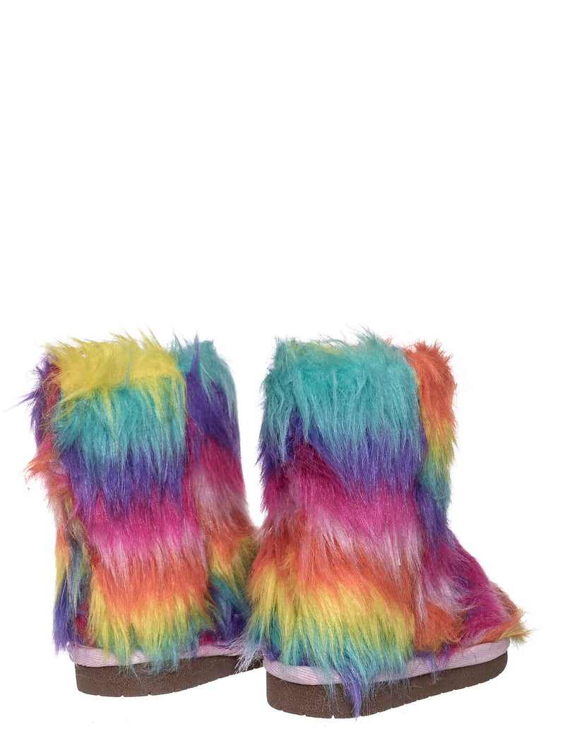 Rainbow / Alice11KA Toddler Fluffy Faux Fur Mukluk - Baby Girl Rainbow Winter Slipper Boot