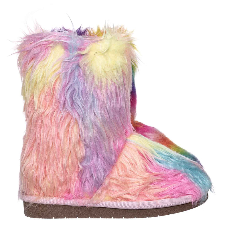 Alice11KA Toddler Fluffy Faux Fur Mukluk - Baby Girl Rainbow Winter Slipper Boot
