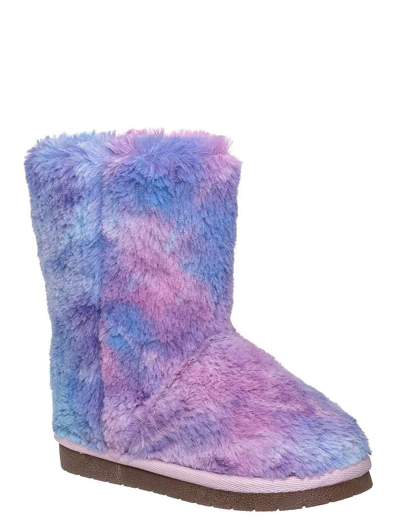 9 Purple Fur / AliceK Kids Fluffy Faux Fur Mukluk - Children Rainbow Winter Slipper Boots