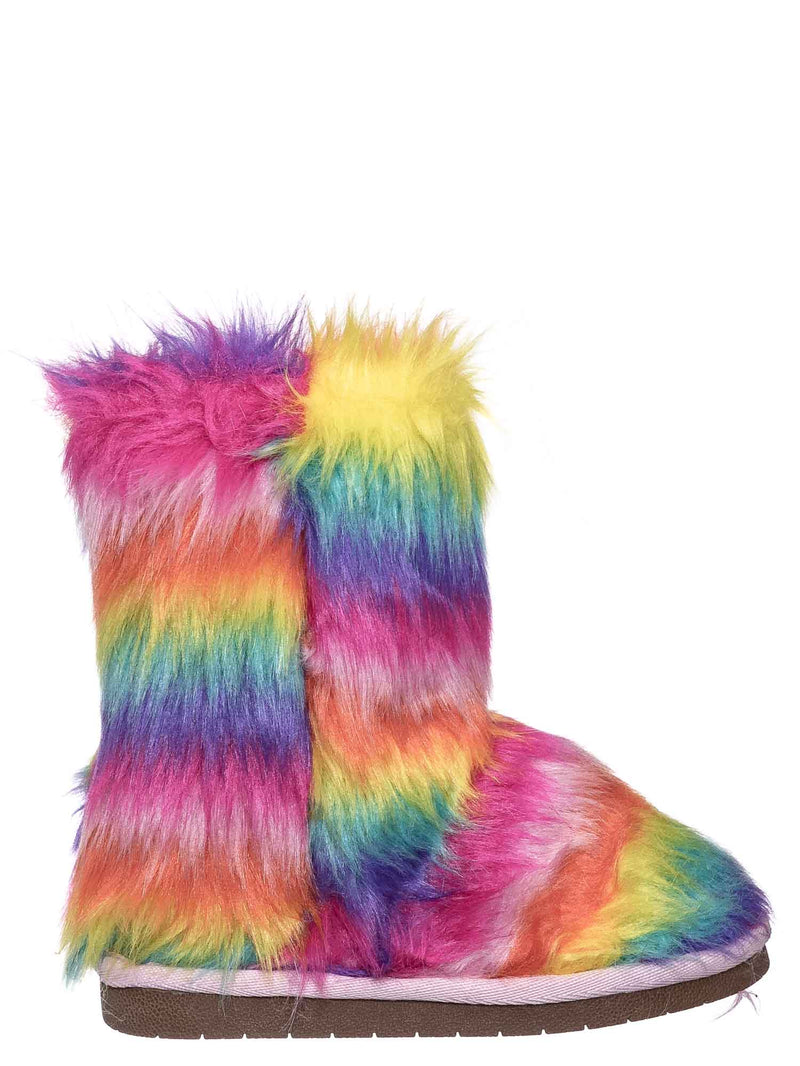 11 Long Rainbow Fur / AliceK Kids Fluffy Faux Fur Mukluk - Children Rainbow Winter Slipper Boots