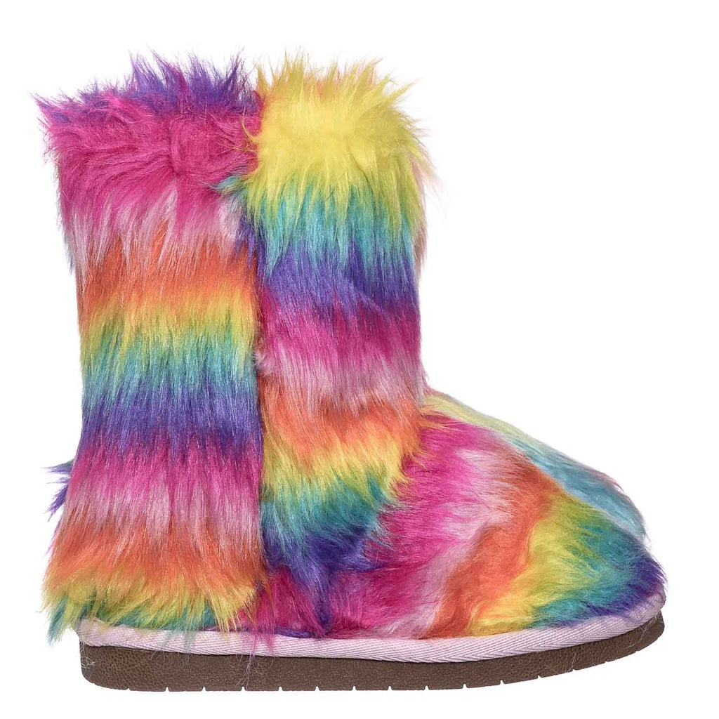 AliceK Kids Fluffy Faux Fur Mukluk - Children Rainbow Winter Slipper Boots