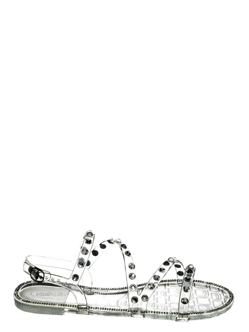 Clear Jelly / Alison01 Lucite Rhinestone Jelly Sandal - Punk Rock Gladiator Rainbow Flats