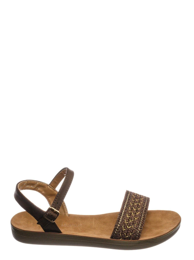 Brown Woven / Amaya01JP Woven Ankle Strap Flat Sandal - Women Flexible Contour Molded Outsole