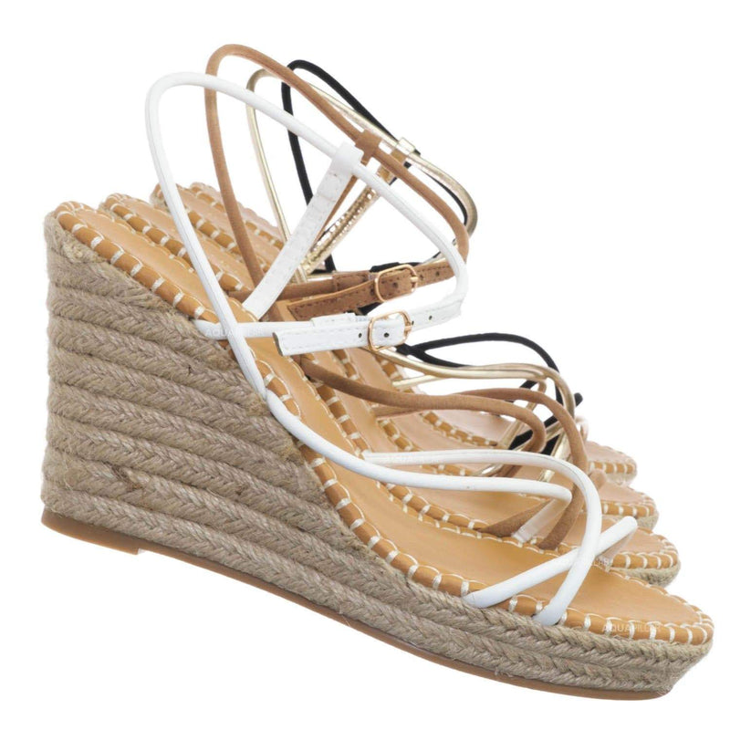 White / Announce03 Thin Strap Espadrille Wedge -Women Woven Platform Barely There Sandal