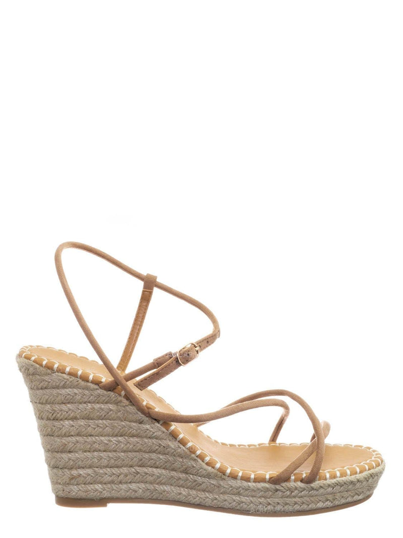 Camel Beige / Announce03 Thin Strap Espadrille Wedge -Women Woven Platform Barely There Sandal