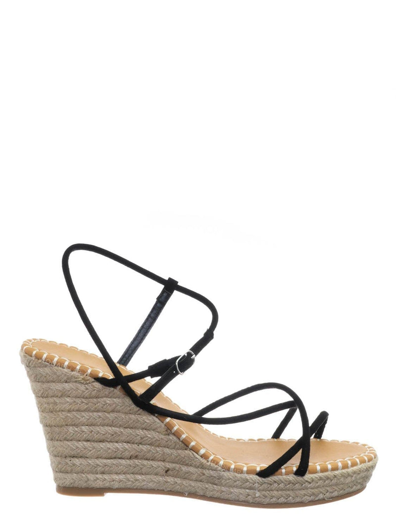 Black / Announce03 Thin Strap Espadrille Wedge -Women Woven Platform Barely There Sandal