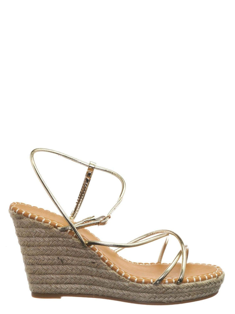 Gold Metallic / Announce03 Thin Strap Espadrille Wedge -Women Woven Platform Barely There Sandal
