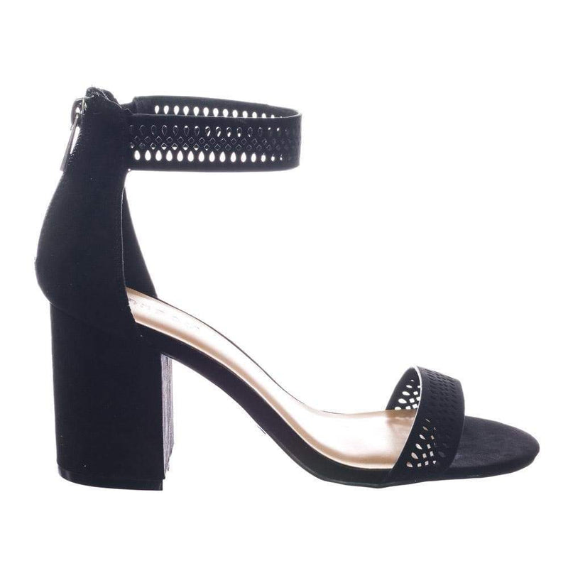 Appetite49 by Bamboo Retro Medium Chunky Block Heel Ankle Strap Sandal w Perforated Holes