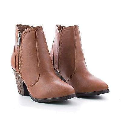 Arrogant By Bamboo, Almond Toe Western Block Faux Wooden Heel Ankle Boots