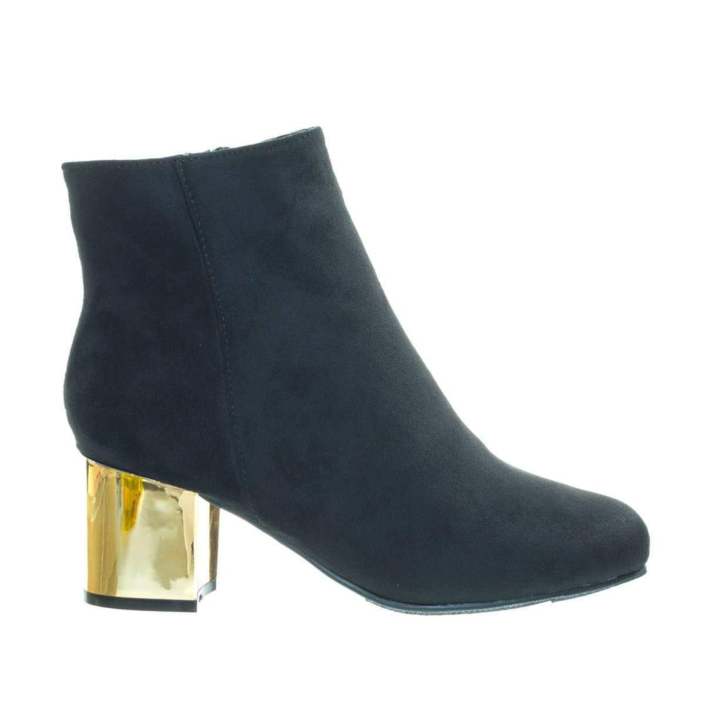 Autumn19 Black by Bamboo, Low Metal Plated Block Heel Bootie w Faux Fur Lining