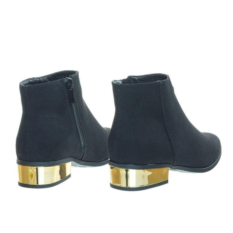 Autumn19 Low Metal Plated Block Heel Bootie w Faux Fur Lining