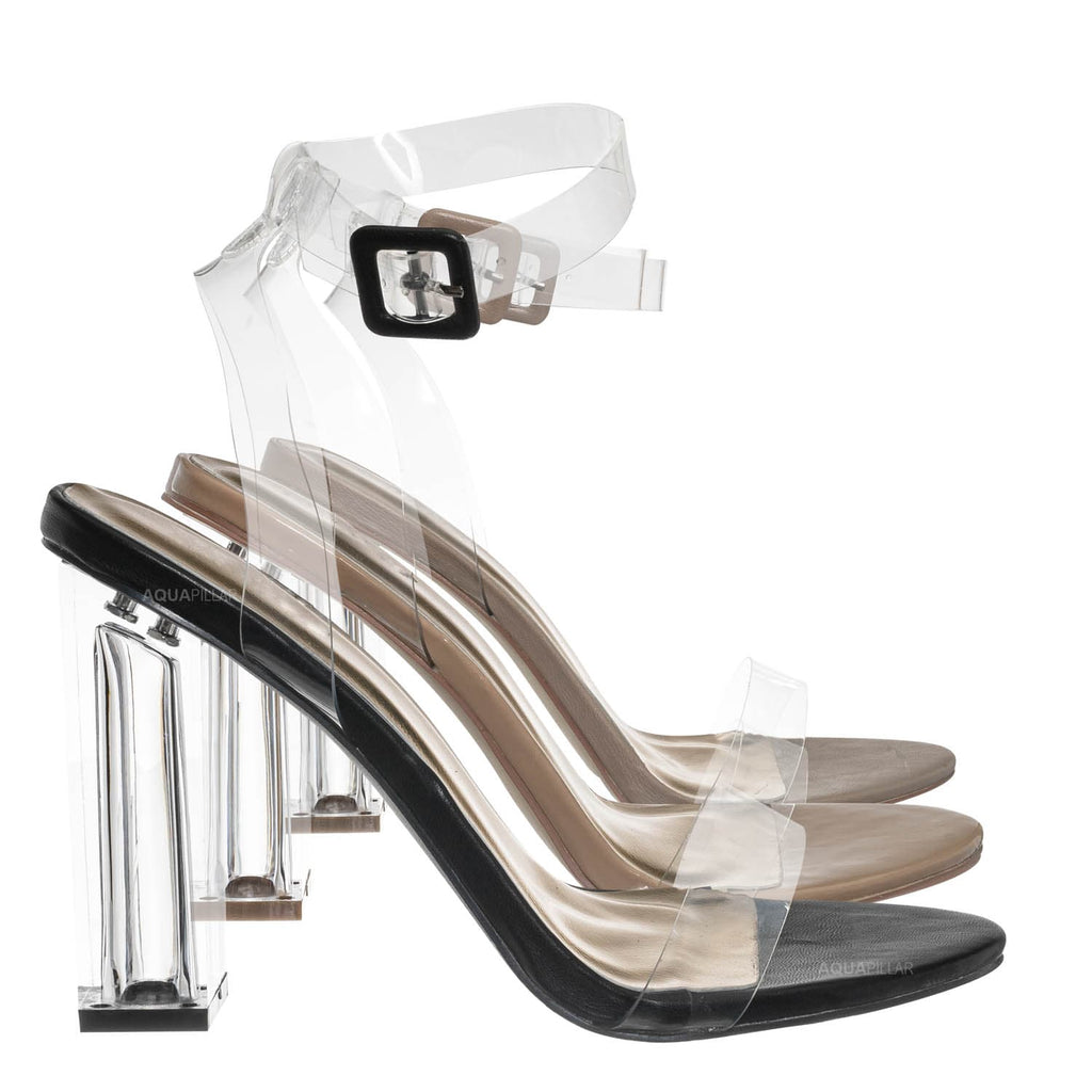 Black / Avenue06 Transparent Clear Dress Sandal - Perspex Vinyl Acrylic Strappy Shoe