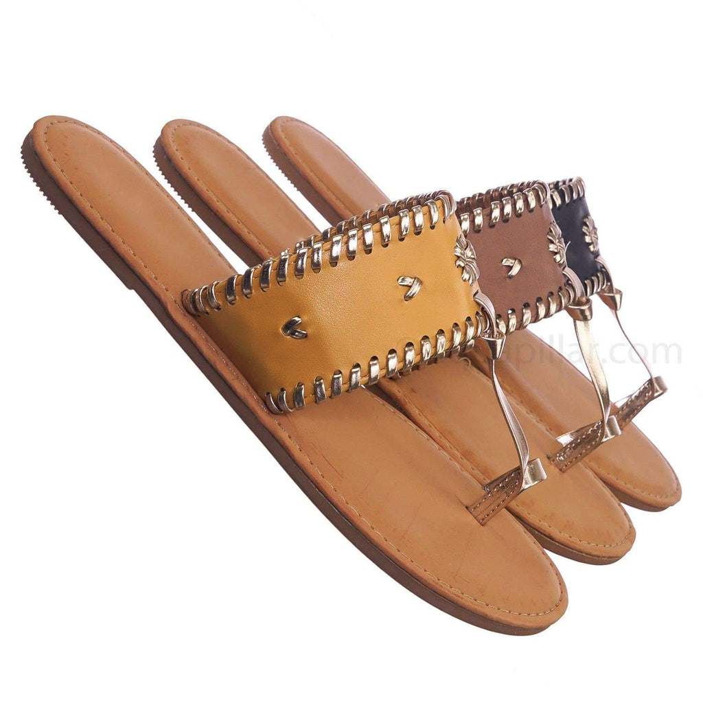 Marigold Yellow / Barton15 MgdCrp Vintage Flat Toe Ring Slide On Sandal - Women Flat Tstrap Braided Shoe