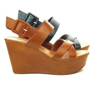 Becca10 By Bamboo, Open Toe Sling back Faux Wood Platform High Wedge Heel Sandals