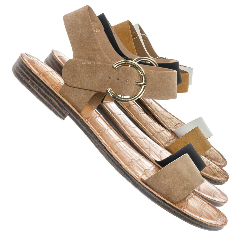 Camel Beige / Belen Wide Band Flat Sandal - Womens Open Toe Summer Buckle Beachwear
