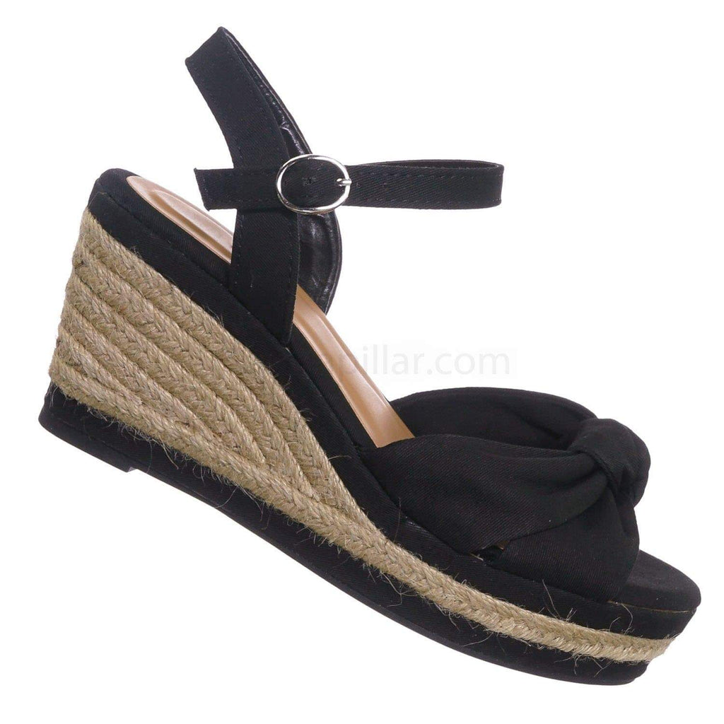 Natural Beige / Belle04 NatLin Espadrille Linein Platform Wedge Sandal - Women Jute Rope Braid Shoes