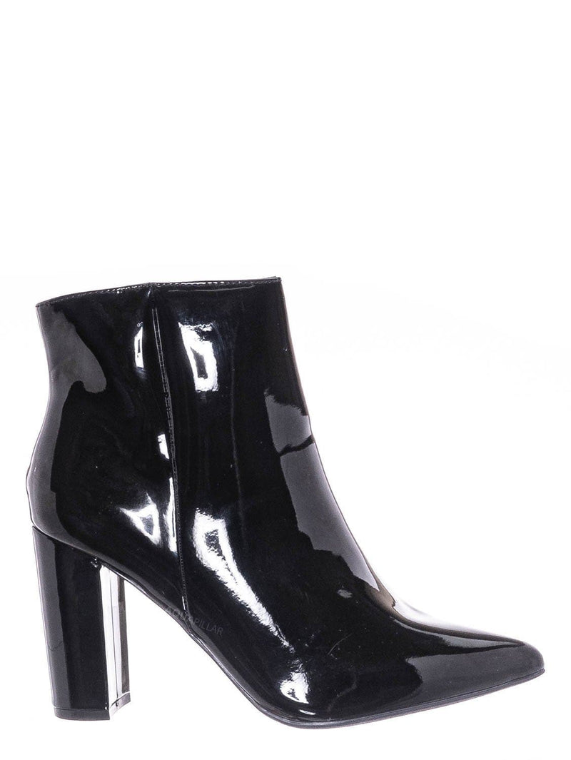 Black Patent / Bellflower09 Pointed Toe Block Heel Bootie - Women Croc & Suede Ankle Pump Boot