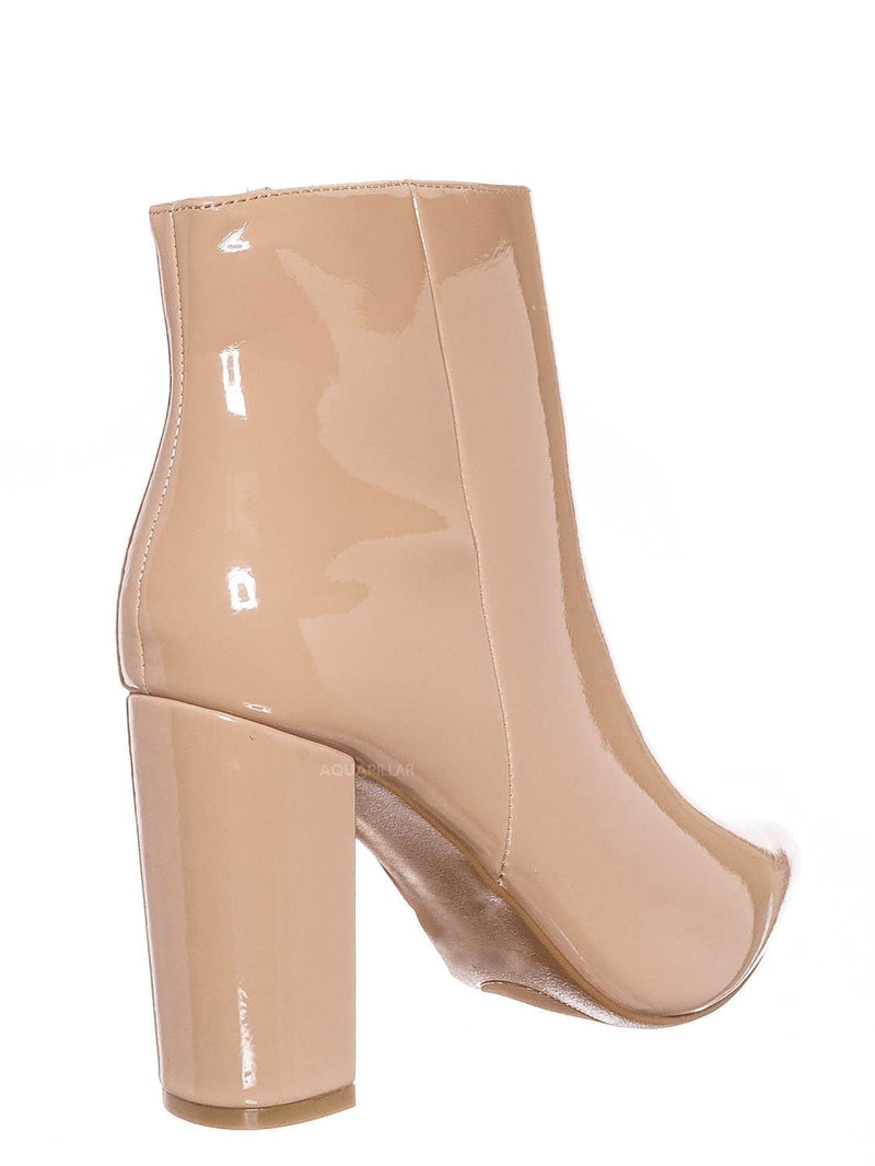 Nude Beige Patent / Bellflower09 Pointed Toe Block Heel Bootie - Women Croc & Suede Ankle Pump Boot